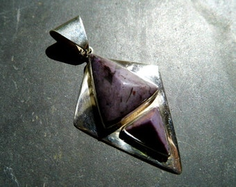 Pendant, silver, Sugelith, New Age, magic, sterling silver, purple, two stones