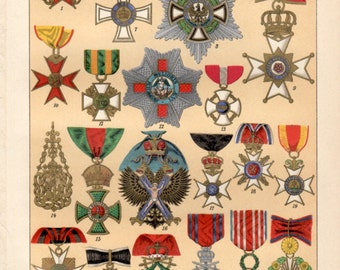 1898 Medals, Orders & Decorations, Antique Print, Vintage Lithograph, Military Orders, Uniforms Military, Order of Merit, Medal Awards