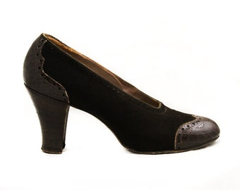 Size 6.5 Brown 1940s Shoes - Terrific 30s 40s Suede & Leather Spectator Pumps - Faux Alligator Shoe - Stacked Wood Heel - 6 1/2 - 50269