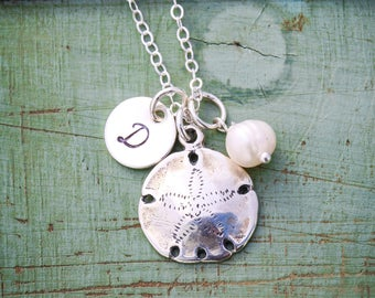 Sand Dollar Charm Necklace • Sterling Silver Sand Dollar Jewelry • Beach Wedding Gift Bridesmaid Necklace Hawaii Jewelry Tropical
