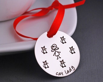 Cat Lady Ornament with Custom number of Cats, Personalized Christmas Tree Ornament, Pet Owner Gift Decoration Custom Ornament