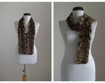 Vintage 1960s rabbit fur scarf/60s leopard print scarf