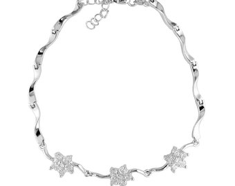 "C271 Glossy Sterling Silver Bracelet with Cubic Zirconia Stones, 7.5"" to 8.5"" Long"