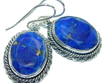 Lapis Lazuli, Garnet Sterling Silver Earrings - weight 9.00g - dim L- 1 3 4, W- 5 8, T- 3 16 inch - code 5-mar-18-45