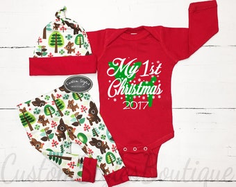 My First Christmas Outfit, Baby Boy, Personalized Red Bodysuit, Retro Reindeer Christmas Leggings & Hat, 1st Christmas Outfit,Christmas Gift