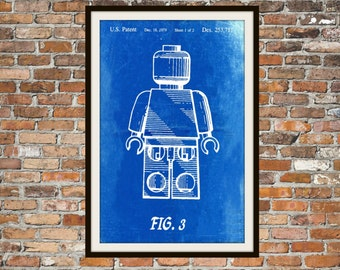 Lego Patent - Blueprint Art of a Lego Figure Man Person No.4 Technical Drawings Engineering Drawings Patent Blue Print Art Item 0077