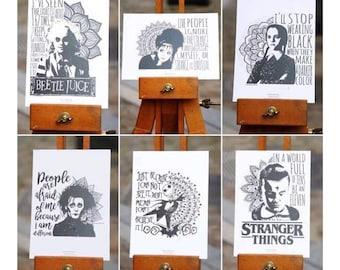 Set of 6 cards postcards Pop culture & Mandalas