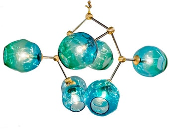 7 Globe  Aqua Hand Blown Glass Geo-Cluster Branch Chandelier Hanging Light Sculpture
