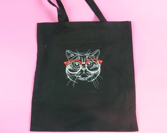 Black Cat Tote Bag Crazy Cat Lady Woman Fun Animal cat wearing glasses embroidered tote shopping bag cat lover crazy cat lady