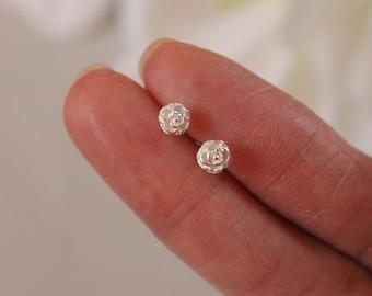 Gold or rose gold available, Flower stud earrings, Rose Stud Earrings, children Jewelry, toddler Earrings, tiny flower stud earrings.