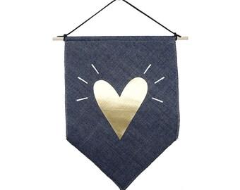 Gold heart small Jeans fabric Banner flag Gold Valentine's Day Gift wall flag Inspirational flag Scandinavian design Love design Valentine