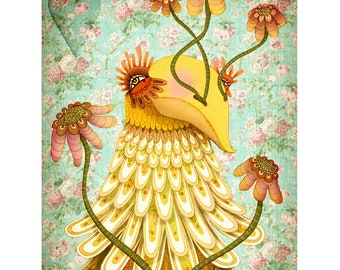 Gobby, The Pretty Feeling Bird - - Illustration - Archival Art Print on Matte Heavy Card