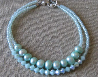 Beaded Minty Bracelet Duo