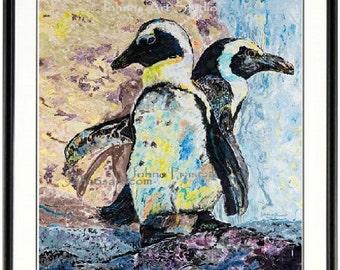 African Penguin wall art, Penguin print, Pittsburgh penguin wall art, Framed Bird art,  bird wall art, by Johno Prascak