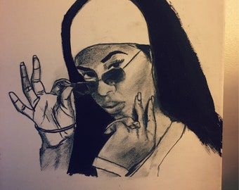 Aaliyah Original Ink Drawing