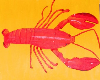 """Lobster and Crab are two matching 12"""" X 12"""" paintings by Rory Doyle, an artist with autism, disability art"""