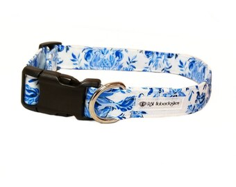 Blue Floral Dog Collar/ Floral Watercolor Dog Collar/ Blue Rose Dog Collar/ Blue Watercolor Rose Dog Collar/ Gifts for Dogs/ Blue Collar