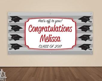 Graduation Banner - Custom Graduation Party Photo Backdrop - Hat's Off Graduation Sign - College / High School Graduate Banner Vinyl Sign