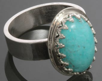CLEARANCE. Amazonite Ring. Sterling Silver. Genuine Gemstone. Cocktail Ring. Ready to Ship. Size 6.5 s13r008
