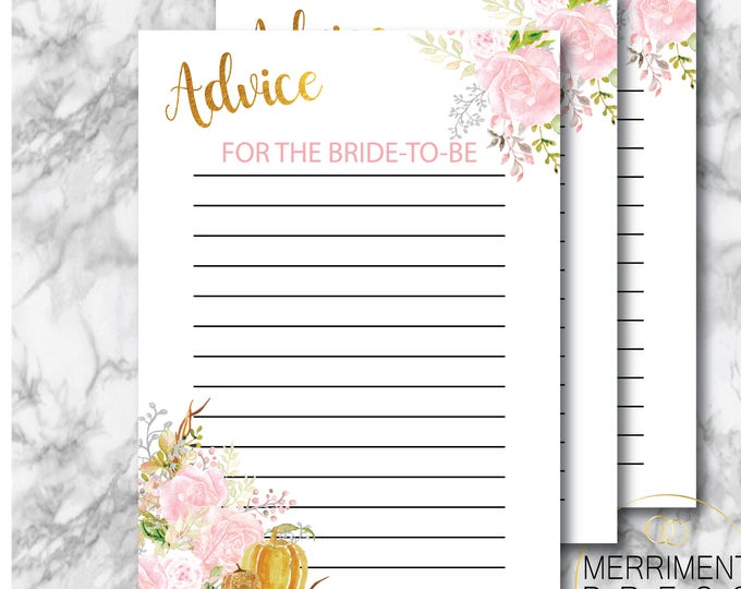 Fall Advice Card // Fall Bridal Shower // Pink Floral // Roses // Advice // Gold // Shower Games // Instant Download // CARMEL COLLECTION
