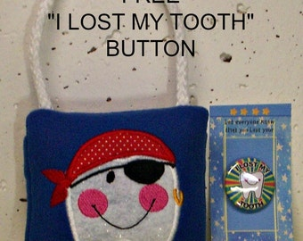 "Pirate Tooth Fairy Pillow & FREE Button, plush,embroidered, comes with a FREE ""I Lost my Tooth"" button"