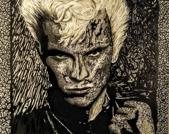 Original BRITISH ICONS Billy Idol acrylic and oils painting by Andrew Ammons-Mistry