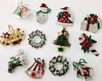 Set of 12 christmas brooch lot/ holiday brooch / christmas tree/ snowman/ xmas pin lot / party favor/ rhinestone christmas