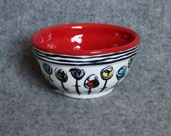 Red Fun Flowers Mini Bowl, Teacher Appreciation, Stripes, Food prep bowls, dip bowls, jewelry dish, whimsical mini dish, snack bowl