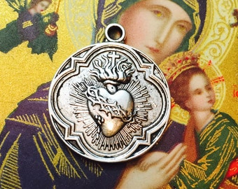 1pc SACRED HEART MEDAL Sacre Coeur Religious 300 Indulgences Silver