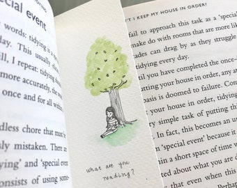 Hand painted bookmark watercolour tree