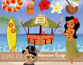 Hawaiian Luau Tropical Tiki Bar Clip Art Collection | Hawaii Vacation Escape PNG Clipart Set and Digital Paper