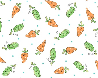 Lil' Sprout Flannel Too - MASF8233-W - Peas N' Carrots - White - By  Kim Christopherson of Kimberbell Designs for Maywood Studio