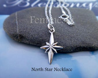 North Star Necklace - 925 Sterling Silver North Star Charm - Polaris Charm Necklace - Tiny North Star Pendant - Find your true north jewelry