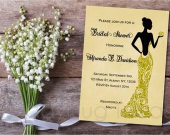 Printable Bridal Shower Invitation, Lady in golden dress, Invitacion Despedida de Soltera. Digital Printable wedding Invite.