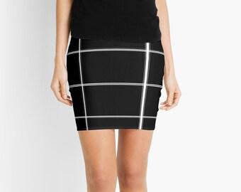 Black and White Checkered Skirt, Pencil Skirts, Mini Skirt, Womens Clothing, Short Skirt, Juniors, Fashion, Summer Skirt, Spring Skirt,Plaid