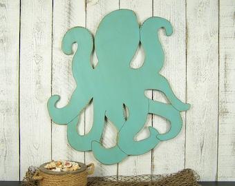 Large Octopus Wall Art Wood Octopus Art Beach House Decor Sign Coastal Wall Art Octopus Decor Kraken Art Beach Wall Art Nautical Wall Decor