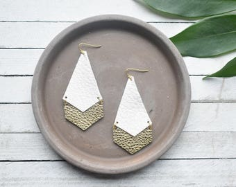 White and Gold Arrow Leather Earrings