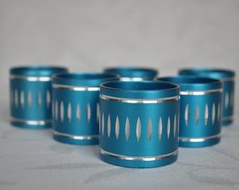 6 Turquoise Anodised Aluminium napkin rings Cristillium 1960s/70s