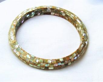 Vintage Abalone Mosaic Bangle Bracelet