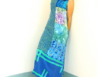 Vintage 90s Tropical Beach Dress Aqua Blue Batik Patchwork Sunflower Pattern Kaftan Sack Dress Loungewear 1990s Straight Column Rayon Mumu