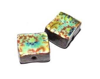Ceramic Cube Earring Bead Pair Rustic Handmade