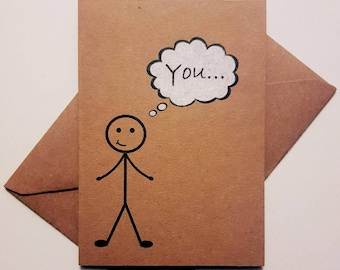 Handmade Thinking of You Card - Unique Stickman Card - Sweet & Thoughtful