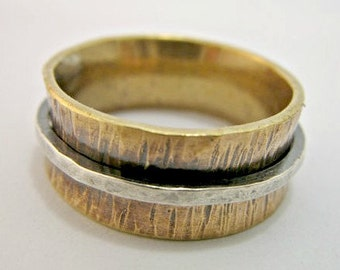 Personalized sterling silver and brass Ring / Wedding Band.. Personalized / Custom ring (choose your numbers/words)..