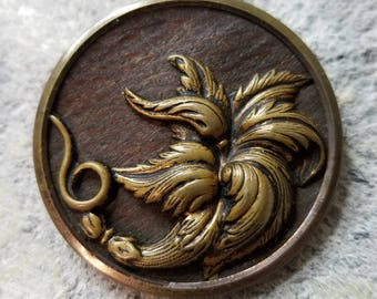 Gorgeous XL Antique Flower Picture Button ~ Stamped Brass Art Nouveau Floral over a Wood Background ~ Coat Button ~ 1-11/16 inch 43mm