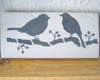 "Recycled wood ""birds"" nursery decor kids table"