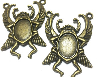 Scarab Beetle Setting, Egyptian Scarab Beetle, Large Scarab Cab Setting, Insect Setting (2 pieces)