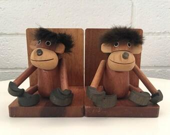 Vintage Teak Wood Monkey Bookends (Japan)