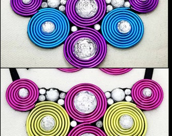 Jewelry Set - Colorful Sparkling Spiral Statement - Bib Necklace & Earrings