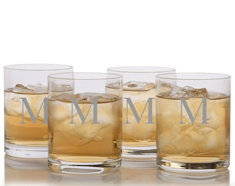 Engraved Crystal Double Old Fashioned Tumbler Glass 4pc. Set By Ravenscroft - Free Shipping