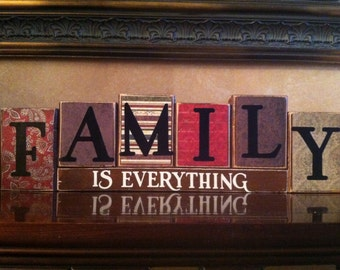 FAMILY IS EVERYTHING, Wood Blocks, Wood Sign, Home Decor, home and living, Fireplace mantel, bookshelf, inspirational, everyday decor
